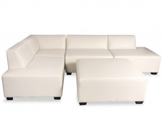 cube sectional (white leather)