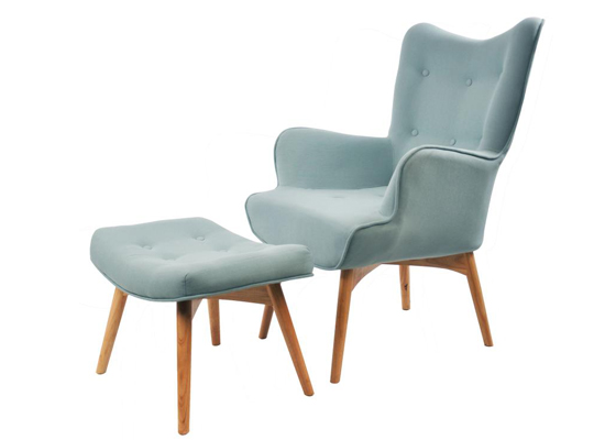 RIO ACCENT CHAIR WITH OTTOMAN (Hazy Blue)