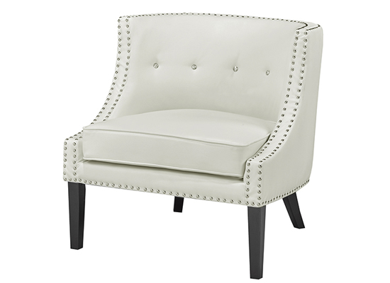 Cuba Accent chair (Fabric: Leather / Color: Off White )