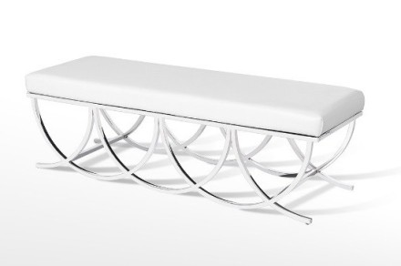 MEDALLION BENCH (white leather)