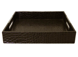 brown leather tray large  (tr 14)