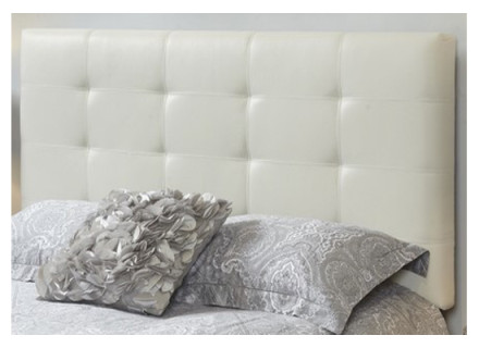 Tara Headboard Queen (Fabric: Leather/Color: off white leather)