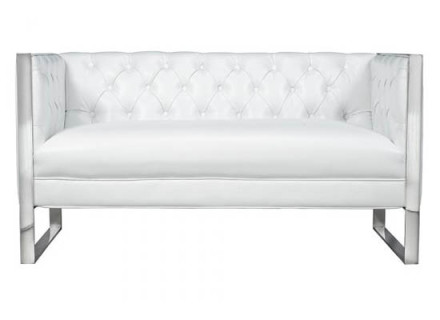 London loveseat (white leather)