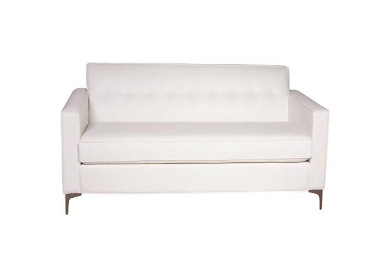 drake loveseat (white leather) CONDO SIZE