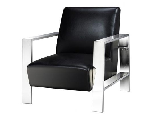 new york accent chair (black leather)