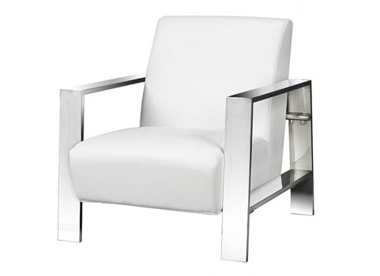 new york accent chair (white leather)