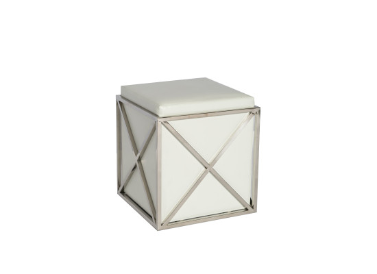 lux ottoman (white leather)