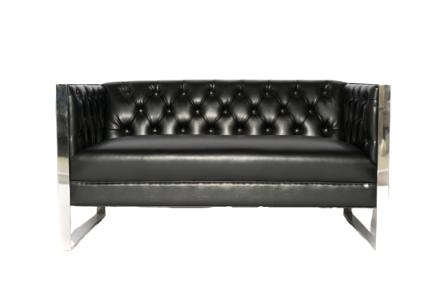 London Loveseat (Black Leather)
