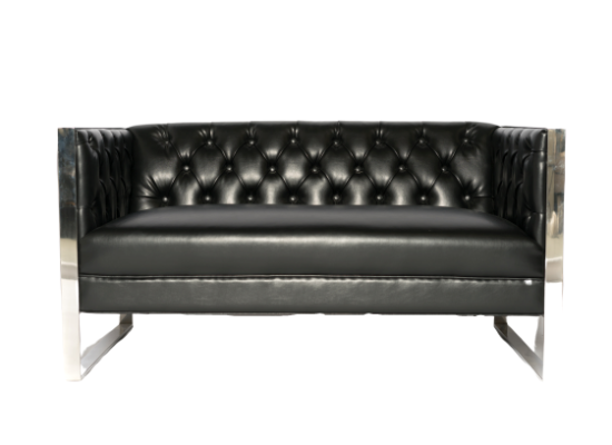 London Loveseat (Black Leather)