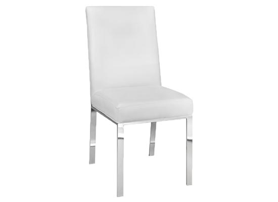 Monty Dining Chair (Fabric: Leather/ Color: White)