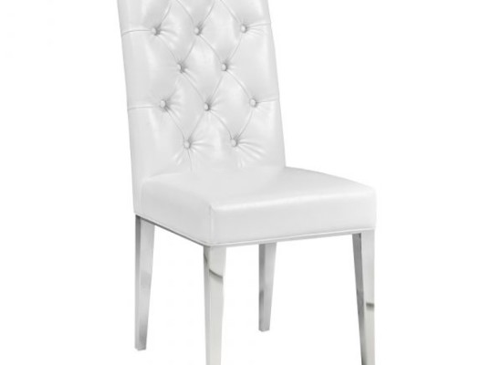 Empire Dining Chair (White Leather)