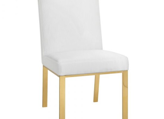 Monty Dining Chair Gold Legs (Fabric: Leather/Color: White)