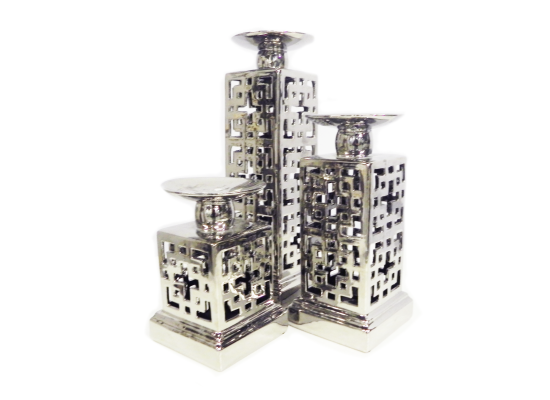 SILVER CAGE CANDLE HOLDER ( 3 PCE)