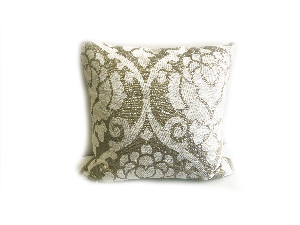 WHITE AND GOLD DESIGN PILLOW (PLL236)