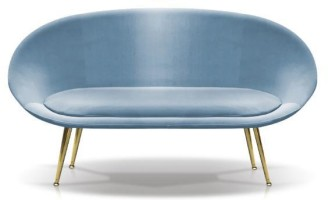 Amy Blue Loveseat (Fabric: Velvet: Color light blue)